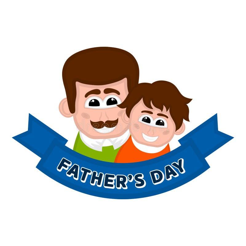 Изолированный счастливый человек с воплощением сына День отца иллюстрация вектора