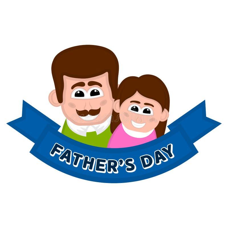 Изолированный счастливый человек с его дочерью День отца бесплатная иллюстрация
