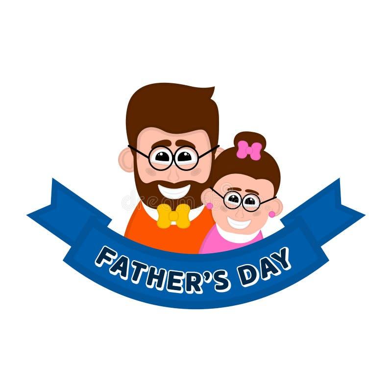 Изолированный счастливый человек с его дочерью День отца иллюстрация штока