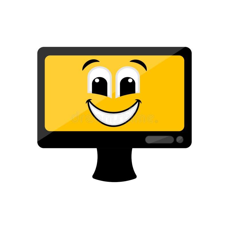 Изолированный счастливый экран компьютера emote бесплатная иллюстрация