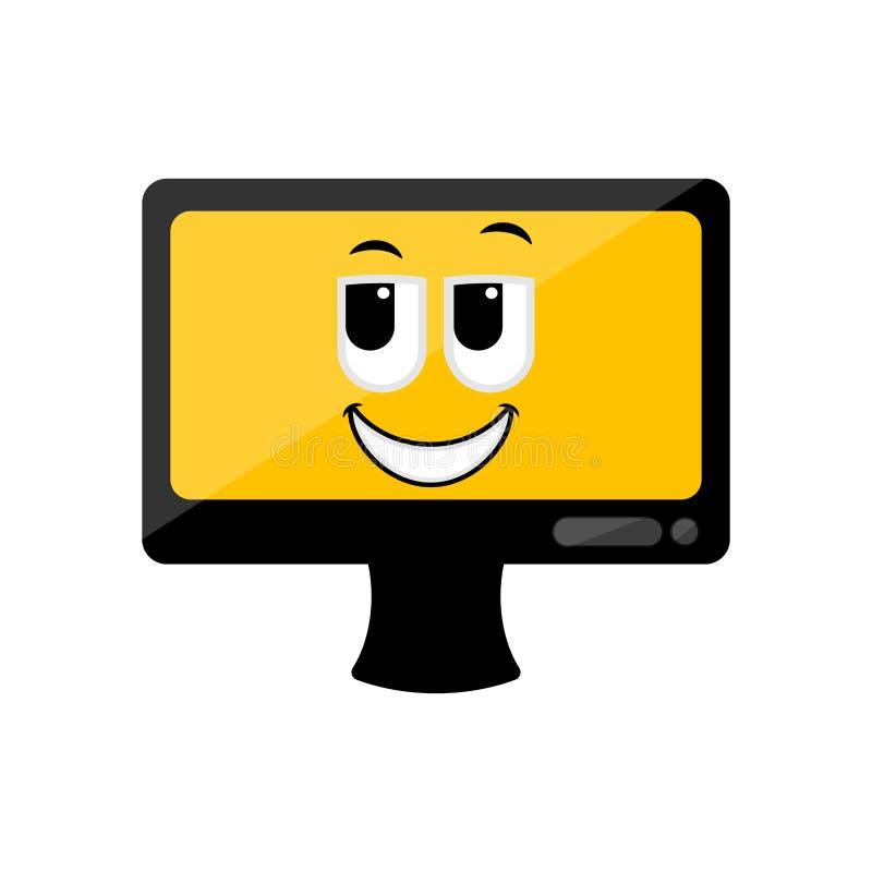 Изолированный счастливый экран компьютера emote иллюстрация вектора