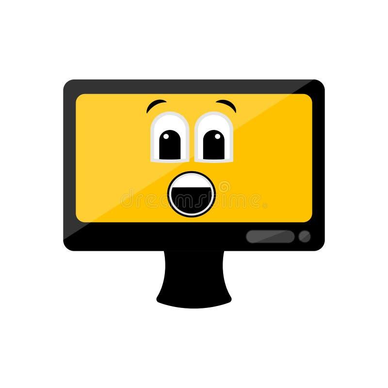 Изолированный удивленный экран компьютера emote иллюстрация штока
