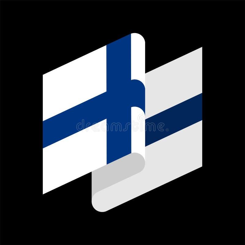 Изолированный флаг Финляндии Финское знамя ленты Символ положения иллюстрация штока