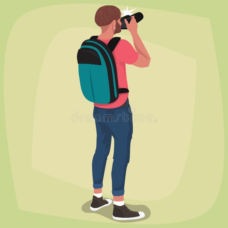 Изолированный фотограф с его назад иллюстрация вектора