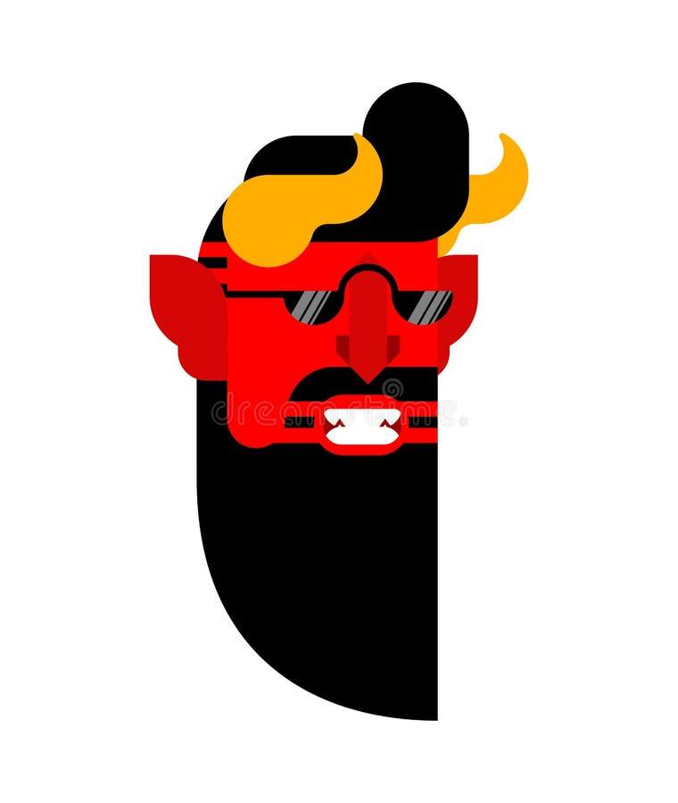 Изолированный хипстер дьявола Взгляд Satan модный Мод-торговец демона бородатый Иллюстрация вектора Lucifer бесплатная иллюстрация