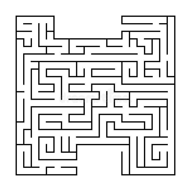 Изолированный черный лабиринт, сложность начала лабиринта на белой предпосылке иллюстрация вектора