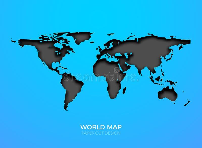 Изолированный шаблон карты вектора мира Дизайн землеведения земли мира глобальный предпосылки атласа иллюстрация штока