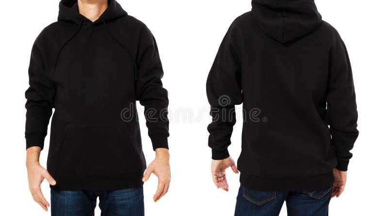 Изолированный шаблон черной мужской фуфайки установленный Фуфайки человека установили с космосом модель-макета и экземпляра Дизай стоковая фотография