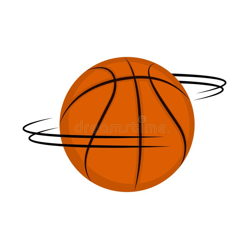Изолированный шарик баскетбола закручивая вокруг иллюстрация вектора