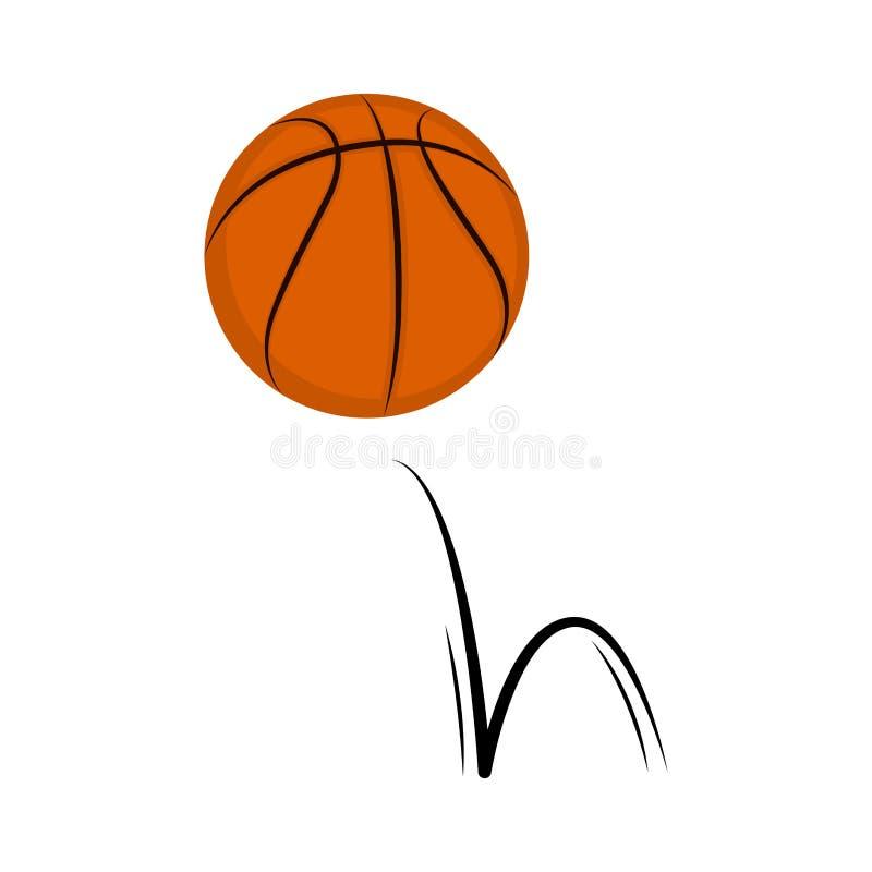 Изолированный шарик баскетбола с влиянием прыжока иллюстрация вектора