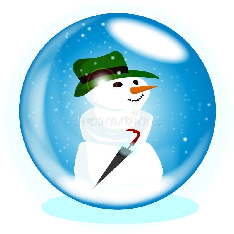 Изолированный шарик снеговика рождества стеклянный бесплатная иллюстрация