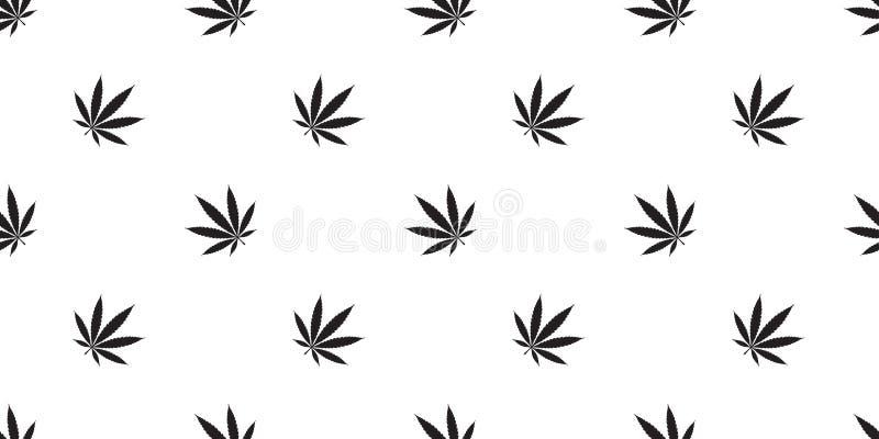 Изолированный шарф лист засорителя конопли картины марихуаны безшовный кроет обои черепицей повторения предпосылки иллюстрация вектора