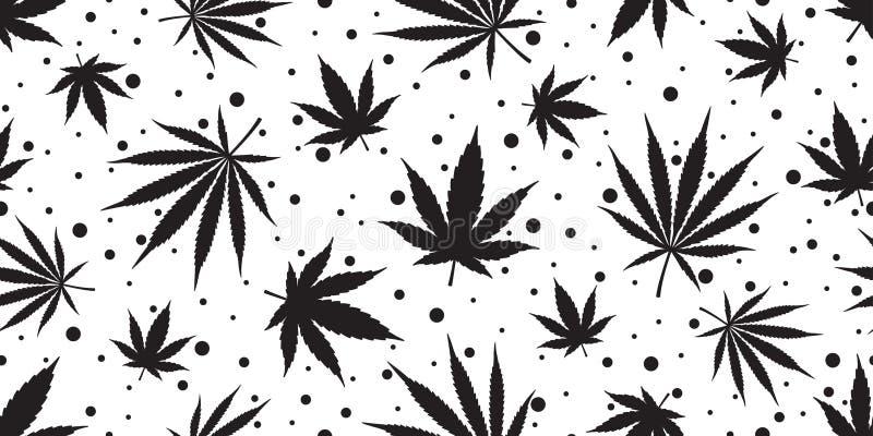 Изолированный шарф обоев повторения лист конопли картины засорителя марихуаны безшовный кроет предпосылку черепицей бесплатная иллюстрация