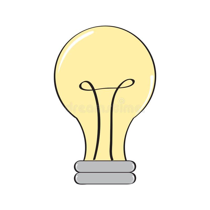 Изолированный шуточный значок лампочки иллюстрация вектора