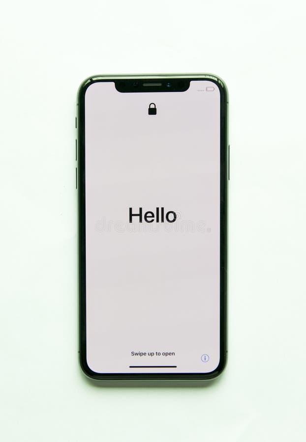 Изолированный экран Iphone x здравствуйте! стоковая фотография