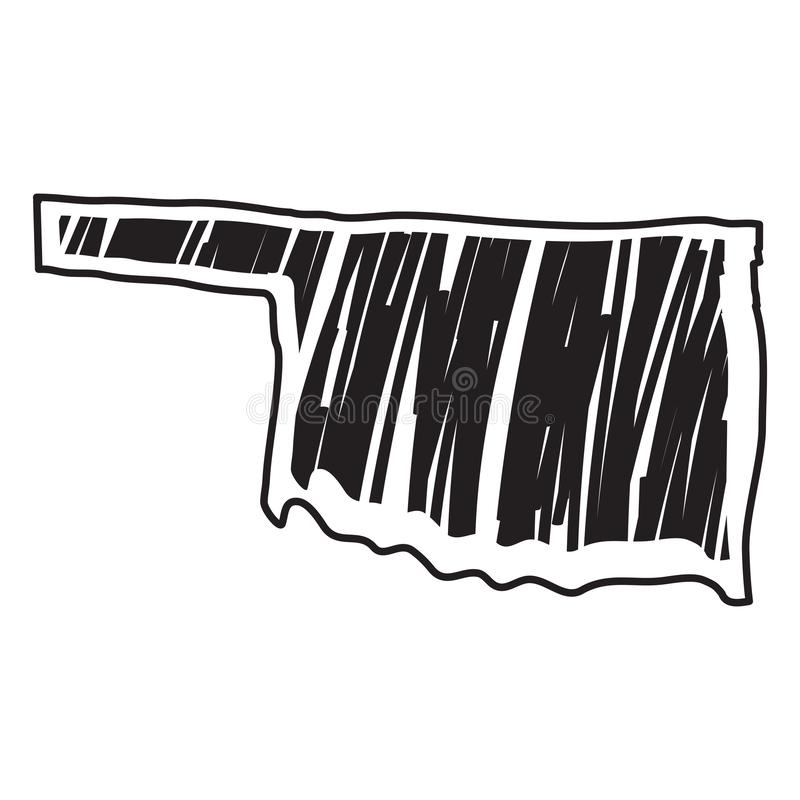 Изолированный эскиз государства Оклахомы иллюстрация вектора