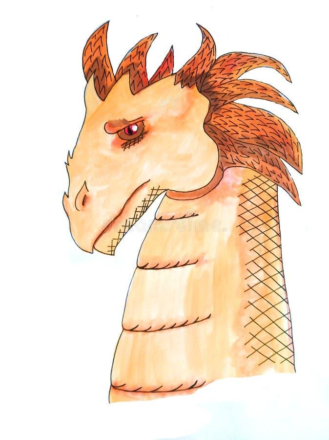 Изолированный эскиз оранжевого и коричневого дракона сделанного акварелью иллюстрация вектора