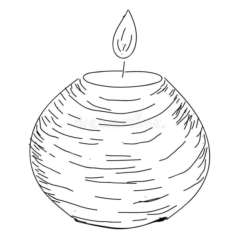 Изолированный эскиз свечи иллюстрация штока