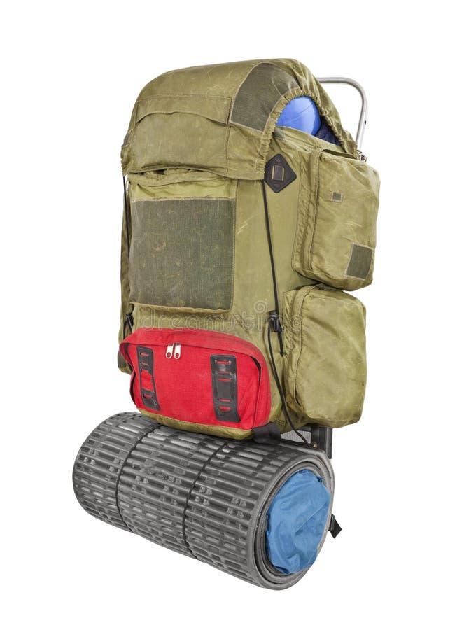 Изолированный Backpack сбора винограда Grungy стоковое фото rf