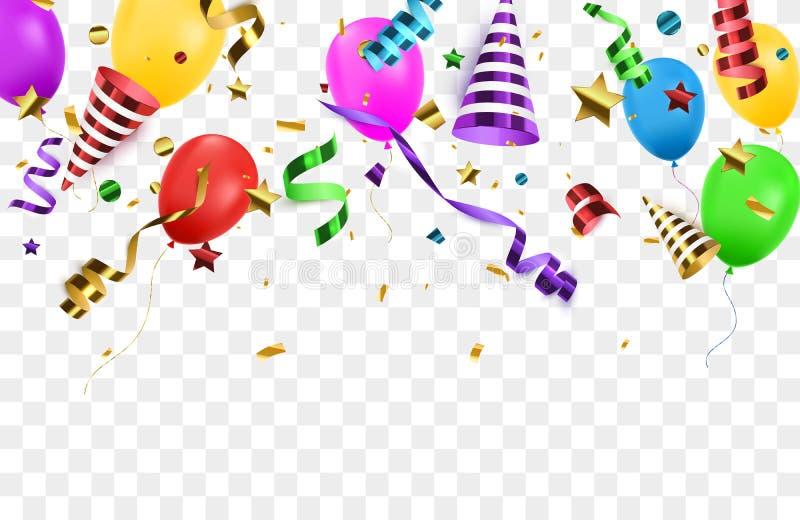 Изолированный Confetti с poppers партии Предпосылка дня рождения иллюстрация штока