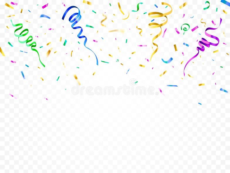 Изолированный confetti украшения партии Отпразднованная лента завертывает украшения в бумагу Вектор много красочного лент фольги  иллюстрация штока