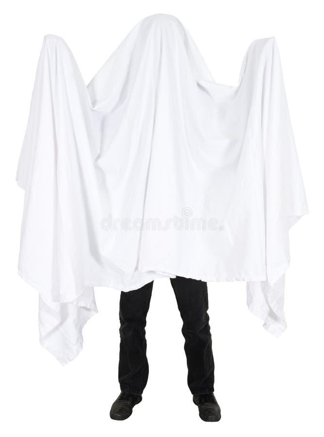 Изолированный Costume привидения простыни смешного человека нося стоковое изображение rf