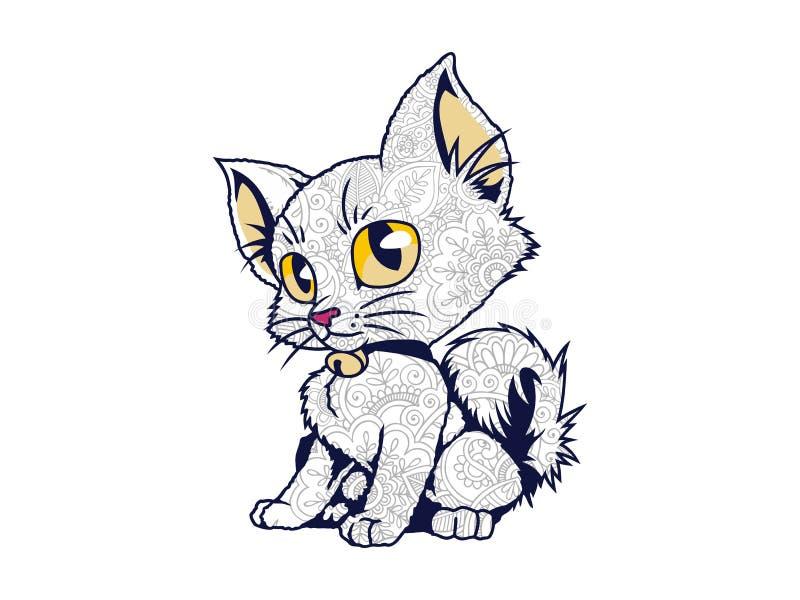 изолированный doodle кота в белой предпосылке для взрослой страницы расцветки отпуска стресса иллюстрация штока