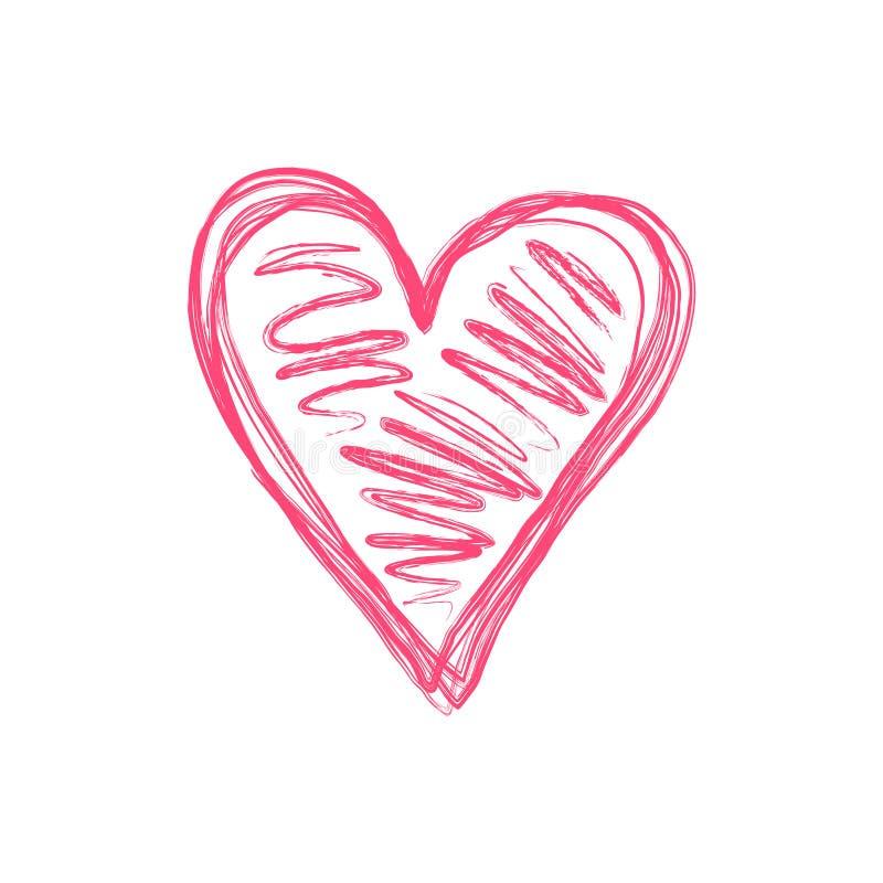 Изолированный Doodle розовый символ сердца scribble иллюстрация вектора