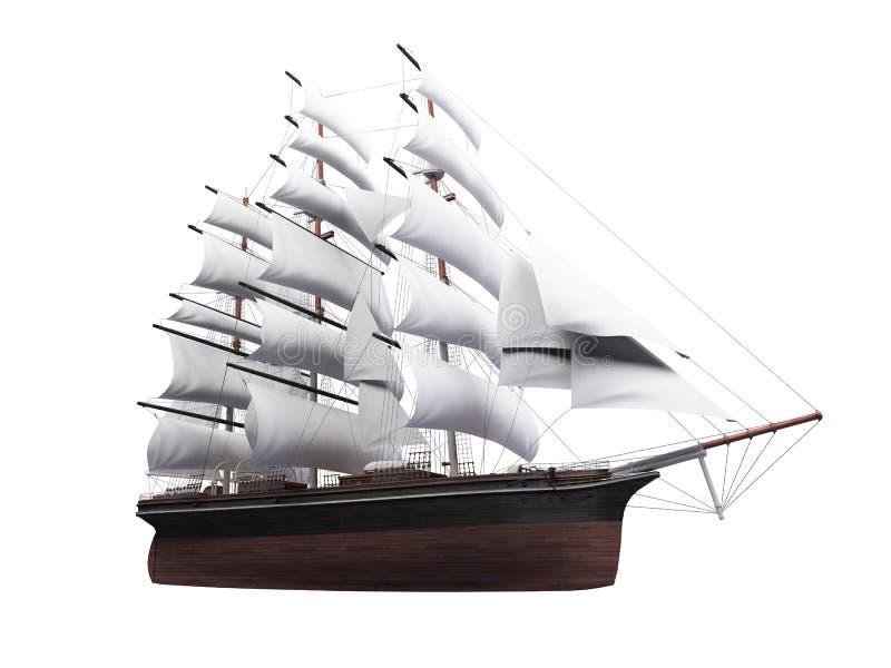 изолировано над белизной корабля sailing иллюстрация вектора