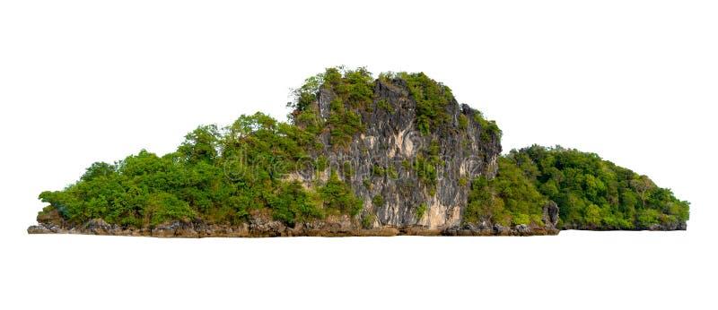 Изолируйте остров в середине предпосылки зеленого моря белой отделенной от предпосылки стоковые изображения