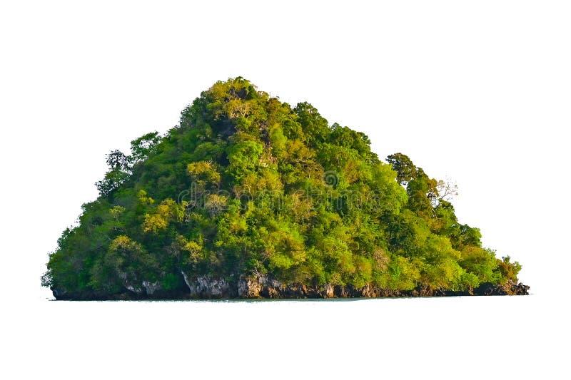 Изолируйте остров в середине предпосылки зеленого моря белой отделенной от предпосылки стоковые фотографии rf
