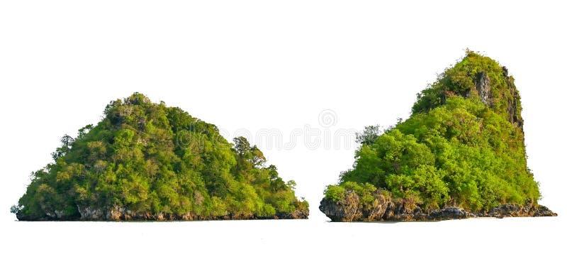 Изолируйте остров в середине предпосылки зеленого моря белой отделенной от предпосылки стоковая фотография