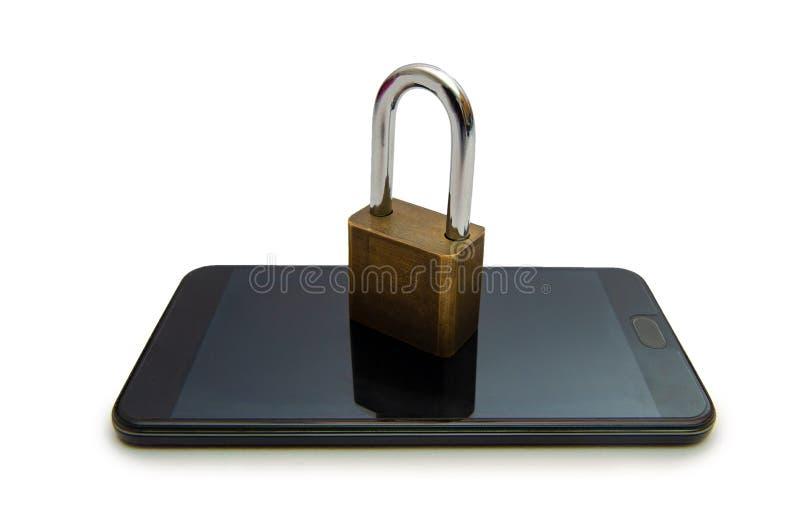 Изолируйте открытую прессу руки телефона интернета замка smartphone телефон для того чтобы связывать в интернете Рука концепции б стоковые изображения