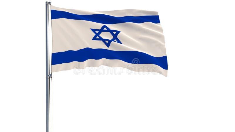Изолируйте флаг Израиля на флагштоке порхая в ветре на белой предпосылке, перевод 3d стоковая фотография rf