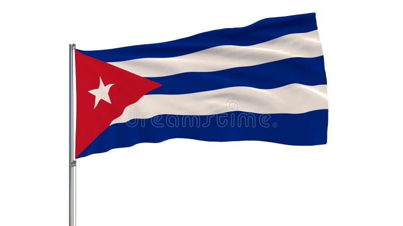 Изолируйте флаг Кубы на флагштоке порхая в ветре на белой предпосылке, перевод 3d стоковая фотография