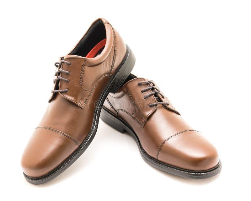 Изолят ботинок Оксфорда пальца ноги крышки платья пар конца-вверх совершенно новый на wh стоковое изображение