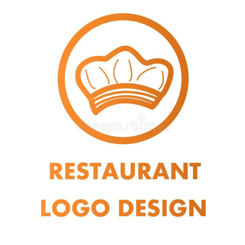 Изолят дизайна вектора логотипа шляпы шеф-повара на белой предпосылке бесплатная иллюстрация