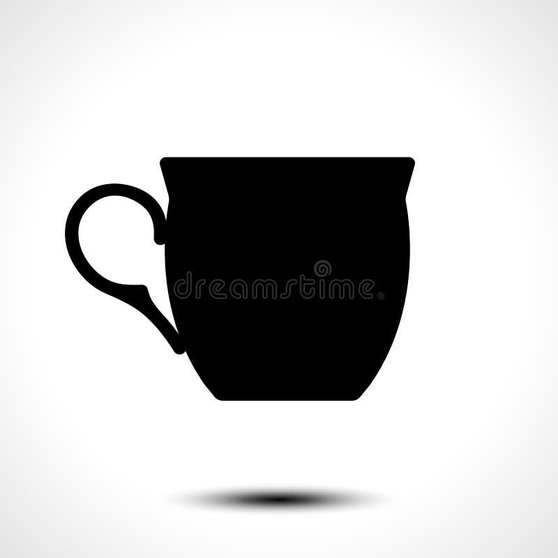 Изолят значка чашки на белой предпосылке также вектор иллюстрации притяжки corel иллюстрация штока