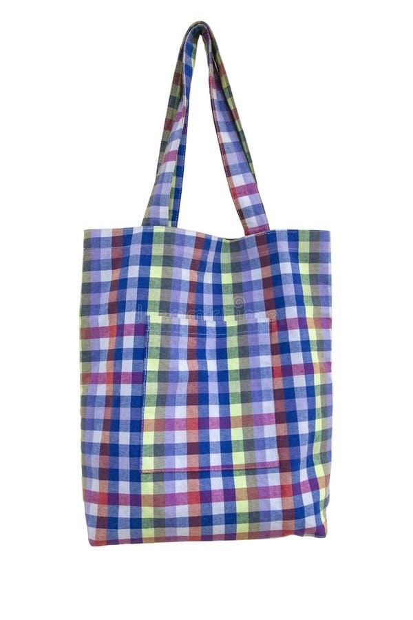 Изолят сумки ткани шотландки на белой предпосылке с путем клиппирования стоковые фото