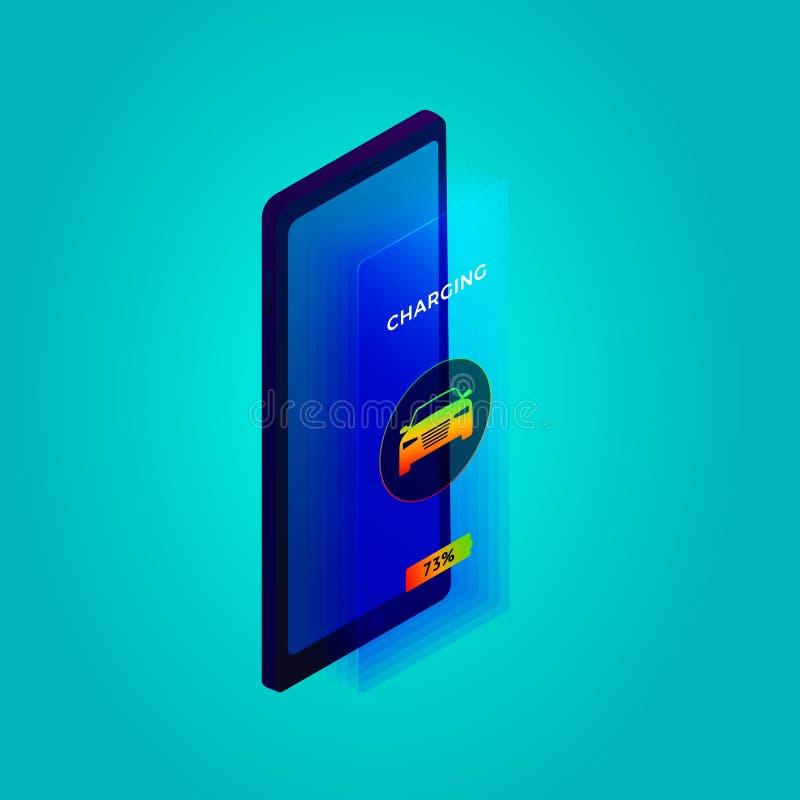 Изометрическая концепция приложения 'Интеллектуальный автомобиль' Шаблон веб-баннера с электронно-заряжающейся информацией о дисп бесплатная иллюстрация