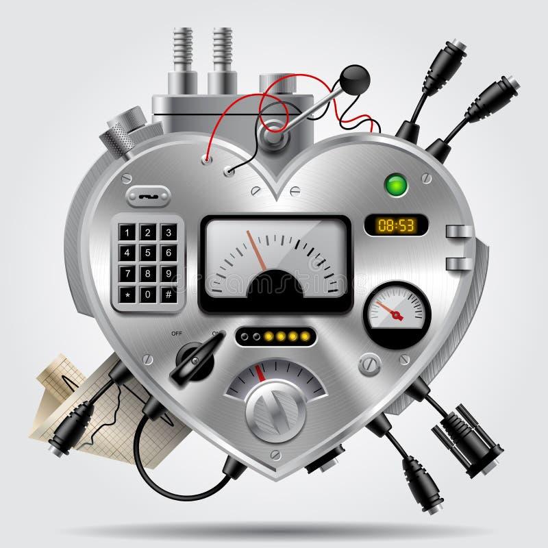 Изощренное электронное устройство в форме сердца с приборной панелью иллюстрация штока