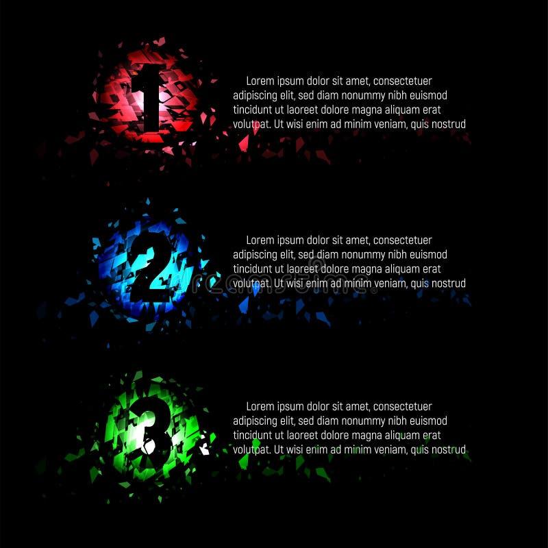 Изолированная абстрактная красочная округлая форма 1,2,3 числа сломленных частей стекла с текстом на черной предпосылке, пункты м иллюстрация вектора