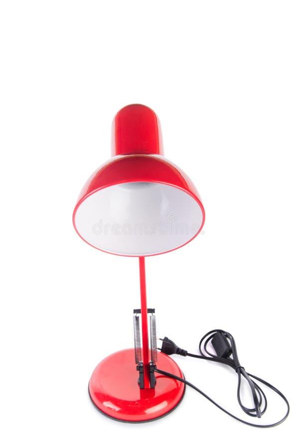 Изолированная лампа красной столешницы регулируемая на белизне стоковые изображения rf