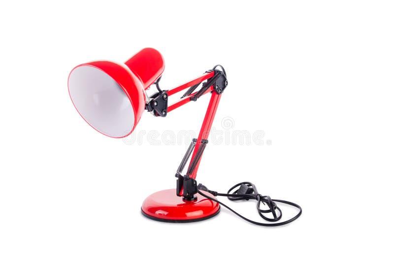 Изолированная лампа красной столешницы регулируемая на белизне стоковые фотографии rf
