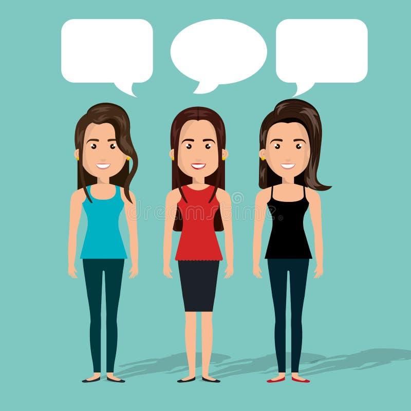 изолированная беседа пузыря болтовни женщин группы иллюстрация вектора