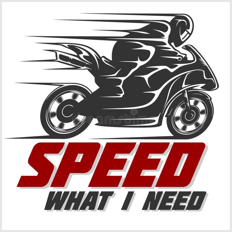 изолированная белизна спорта мотоцикла Векторная графика для футболки иллюстрация штока