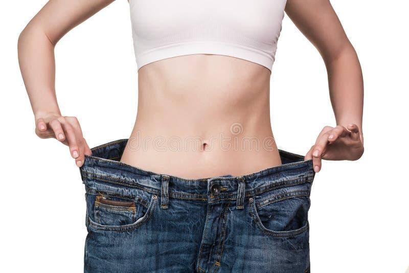 изолированная женщина веса торса измерения потери белая стоковое изображение