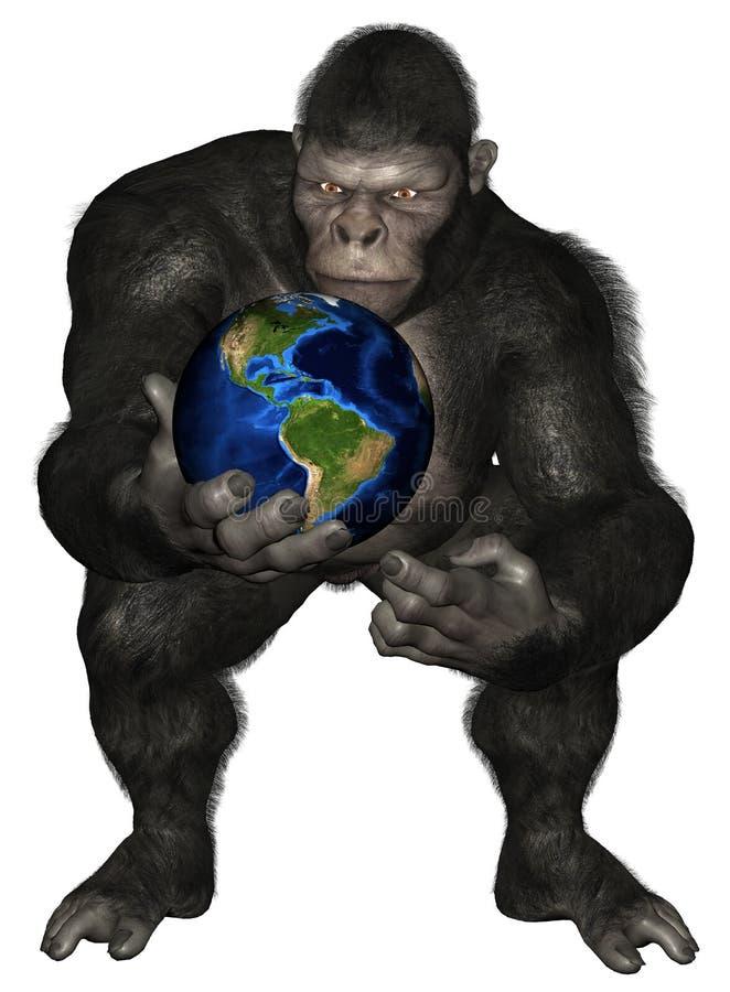 Изолированная земля планеты обезьяны гориллы иллюстрация вектора