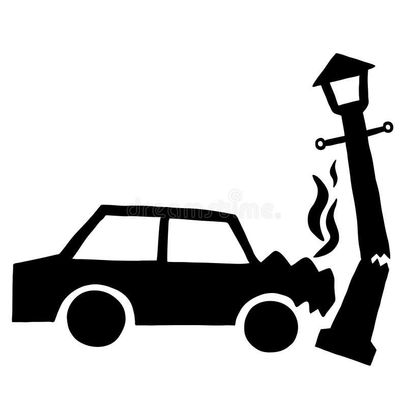 изолированная иллюстрация автомобиля аварии 3d представила белизну иллюстрация вектора