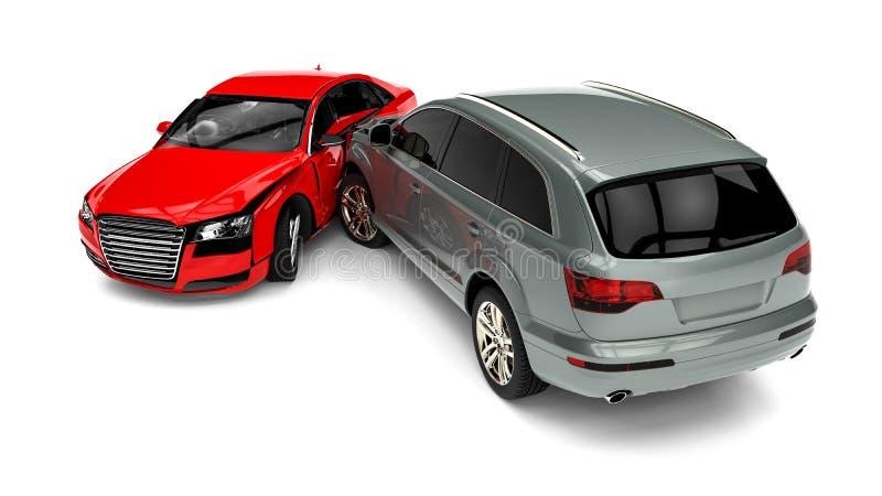 изолированная иллюстрация автомобиля аварии 3d представила белизну бесплатная иллюстрация